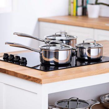Vitinni 3 Piece Tri Ply Stainless Steel Pan Set