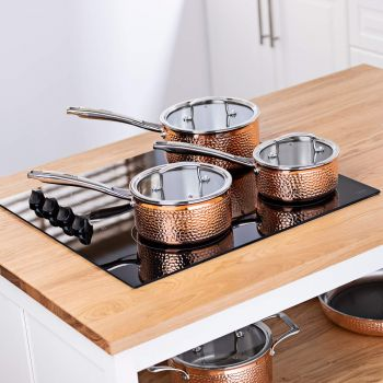 Vitinni 3 Piece Tri Ply Hammered Copper Pan Set