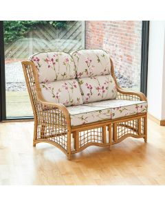 Alfresia Bali 2 Seater Cane and Square Lattice Conservatory Sofa - Blossom Chintz