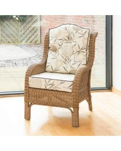 Denver Wicker Reading Chair with Button-Back Cushion