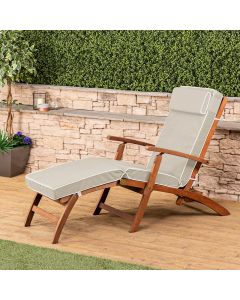 Alfresia Wooden Steamer Deck Chair with Luxury Cushion