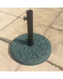 Alfresia 25kg Round Patterned Concrete Parasol Base - Green