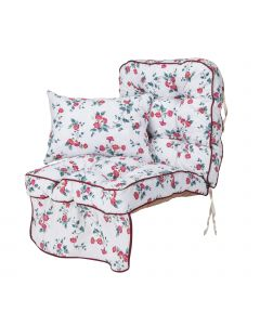 Single Classic Garden Swing Seat Cushion - Trailing Pink Flowers