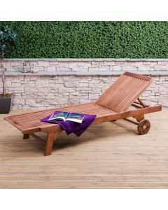 Alfresia Wooden Sun Lounger with Wheels
