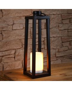 52cm Solar Power Tall Iron Lantern with Flickering Flame Candle