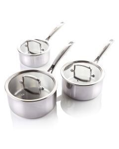 Vitinni 3 Piece Tri Ply Stainless Steel Pan Set