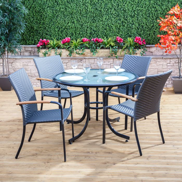 105cm Round Rattan Garden Table With Glass Top